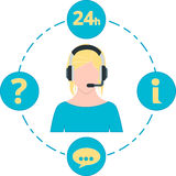 Θηλυκό μπλε χρώμα υποστήριξης, εικονίδια υπηρεσιών και κάσκα Στοκ εικόνα με δικαίωμα ελεύθερης χρήσης