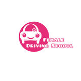 Θηλυκό οδηγώντας σχολικό λογότυπο Στοκ Φωτογραφία