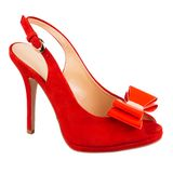 Θηλυκό παπούτσι μόδας στο λευκό Στοκ Εικόνες
