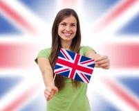 Θηλυκό σπουδαστών με τη βρετανική σημαία Στοκ Φωτογραφία