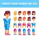 Θηλυκό σύνολο δημιουργιών χαρακτήρα Δείτε επίσης την εξάρτηση τύπων Στοκ Εικόνες