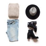 Θηλυκό σύνολο μόδας Επίπεδος βάλτε, τοπ άποψη Στοκ φωτογραφία με δικαίωμα ελεύθερης χρήσης
