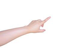 Θηλυκό χέρι που αγγίζει ή που δείχνει κάτι που απομονώνεται στο λευκό Στοκ εικόνες με δικαίωμα ελεύθερης χρήσης