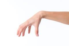 Θηλυκό χέρι που παρουσιάζει τη χειρονομία την παλάμη κάτω και τα δάχτυλα που χωρίζονται κατά διαστήματα με Στοκ Εικόνα