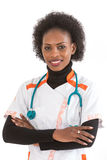 Θηλυκό χαμόγελο γιατρών ή νοσοκόμων αφροαμερικάνων που απομονώνεται πέρα από το άσπρο υπόβαθρο στοκ φωτογραφίες