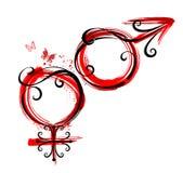 θηλυκό floral αρσενικό σύμβολο απεικόνισης Στοκ Εικόνα