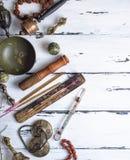 Θιβετιανά θρησκευτικά αντικείμενα για την περισυλλογή και το εναλλακτικό medicin Στοκ Εικόνα