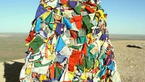Θιβετιανές σημαίες προσευχής απόθεμα βίντεο
