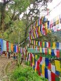 Θιβετιανή σημαία προσευχής για την πίστη, την ειρήνη, τη φρόνηση, τον οίκτο, και το ST στοκ φωτογραφία με δικαίωμα ελεύθερης χρήσης