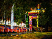 Θιβετιανός βουδιστικός ναός Vajrayana Panillo στην Ισπανία στη Dawn Στοκ φωτογραφίες με δικαίωμα ελεύθερης χρήσης