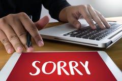 ΘΛΙΒΕΡΟΣ συγχωρήστε τη λύπη αποτυγχάνει ουπς το ψεύτικο λάθος ελαττωμάτων λυπάται για Apolo Στοκ Φωτογραφίες