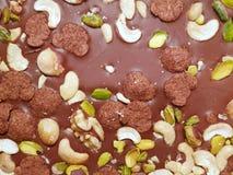 Θολωμένη εικόνα του φραγμού σοκολάτας με τα αμύγδαλα, τις σταφίδες, το καρύδι και τα σιτάρια ως υπόβαθρο στοκ εικόνες με δικαίωμα ελεύθερης χρήσης