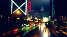 Θολωμένη κυκλοφορία νύχτας Γρήγορη κίνηση απόθεμα βίντεο