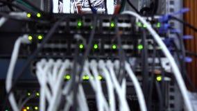 Θολωμένος κεντρικός υπολογιστής Ένδειξη της λειτουργίας του εξοπλισμού δικτύων Σύνδεση δικτύων του τοπικού LAN E απόθεμα βίντεο