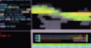 Θολωμένος κώδικας προγράμματος Κώδικας υπολογιστών που τρέχει σε ένα εικονικό διάστημα απόθεμα βίντεο