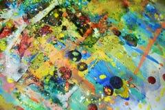 Θολωμένο μαλακό υπόβαθρο κρητιδογραφιών watercolor χρυσό μπλε Στοκ Εικόνα