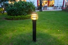 Θολωμένο φως διακοσμήσεων πυράκτωσης κήπων στο πάρκο τη νύχτα Στοκ εικόνες με δικαίωμα ελεύθερης χρήσης
