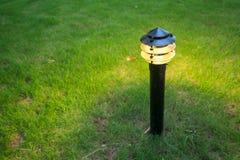 Θολωμένο φως διακοσμήσεων πυράκτωσης κήπων στο πάρκο τη νύχτα Στοκ Φωτογραφίες