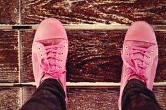 Θολωμένα ρόδινα πάνινα παπούτσια - εξαρτήματα και φορετός (πάνινα παπούτσια) Στοκ Φωτογραφία