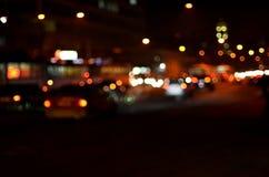 Θολωμένο τοπίο της πόλης νύχτας Στοκ Εικόνες
