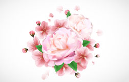 Θολωμένο υπόβαθρο κρητιδογραφιών με τα πέταλα λουλουδιών Στοκ Φωτογραφίες