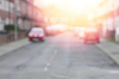 Θολωμένο υπόβαθρο οδών στην ηλιοφάνεια Μάντσεστερ, Αγγλία στοκ φωτογραφίες με δικαίωμα ελεύθερης χρήσης