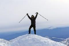 Θρίαμβοι ορειβατών στην κορυφή του βουνού στοκ εικόνα