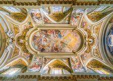` Θρίαμβος της διαταγής Αγίου Francis ` από το Giovan Battista Gaulli, στη βασιλική του Santi ΧΙΙ Apostoli, στη Ρώμη, Ιταλία Στοκ εικόνα με δικαίωμα ελεύθερης χρήσης