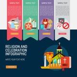 Θρησκεία και εορτασμοί Infographic σύνθετο απεικόνιση αποθεμάτων