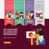 Θρησκεία και εορτασμοί Infographic σύνθετο διανυσματική απεικόνιση