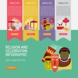 Θρησκεία και εορτασμοί Infographic σύνθετο ελεύθερη απεικόνιση δικαιώματος