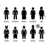 Θρησκεία των ανθρώπων στον κόσμο Cliparts απεικόνιση αποθεμάτων