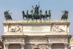 Θριαμβευτική αψίδα της ειρήνης στο Μιλάνο, Ιταλία Στοκ φωτογραφία με δικαίωμα ελεύθερης χρήσης