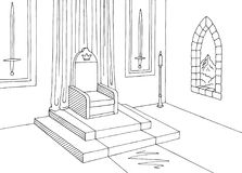 Θρόνων δωματίων γραφικό διάνυσμα απεικόνισης σκίτσων κάστρων εσωτερικό μαύρο άσπρο μεσαιωνικό Στοκ Φωτογραφίες