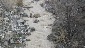 Θυελλώδες νερό άνοιξη ρευμάτων βουνών ροής λάσπης απόθεμα βίντεο