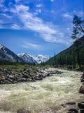 Θυελλώδης ποταμός βουνών στο πόδι των χιονοσκεπών βουνών Altai Έννοια του ταξιδιού και της ακραίας χαλάρωσης στοκ φωτογραφία