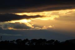 Θυελλώδης χρυσός ηλιοφώτιστος ουρανός στοκ φωτογραφία
