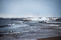 Θυελλώδης θάλασσα το χειμώνα με την άσπρη συντριβή κυμάτων Στοκ εικόνες με δικαίωμα ελεύθερης χρήσης