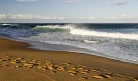 Θυελλώδης κυματωγή στην παραλία κουδουνιών Στοκ εικόνα με δικαίωμα ελεύθερης χρήσης