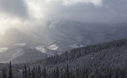 Θυελλώδη χειμερινά βουνά Στοκ Φωτογραφίες