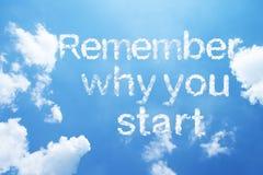Θυμηθείτε γιατί αρχίζετε τη λέξη σύννεφων στοκ φωτογραφία με δικαίωμα ελεύθερης χρήσης