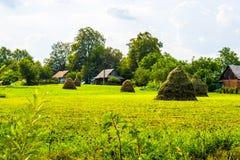 Θυμωνιές χόρτου και ξύλινα σπίτια Στοκ εικόνες με δικαίωμα ελεύθερης χρήσης