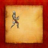 Θωρακισμένος ιππότης με το ξίφος και την ασπίδα - αναδρομική κάρτα Στοκ Φωτογραφίες