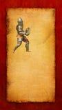 Θωρακισμένος ιππότης με το ξίφος και την ασπίδα - αναδρομική κάρτα Στοκ εικόνα με δικαίωμα ελεύθερης χρήσης