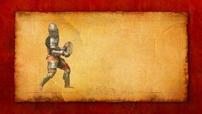 Θωρακισμένος ιππότης με το ξίφος και την ασπίδα - αναδρομική κάρτα Στοκ φωτογραφία με δικαίωμα ελεύθερης χρήσης
