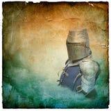 Θωρακισμένος ιππότης στο κράνος με την ασπίδα - αναδρομική κάρτα Στοκ Φωτογραφίες