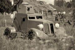Θωρακισμένο αυτοκίνητο Γερμανικός στρατιωτικός εξοπλισμός από το δεύτερο παγκόσμιο πόλεμο στην αναδημιουργία του πεδίου μάχης για στοκ φωτογραφίες με δικαίωμα ελεύθερης χρήσης