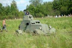Θωρακισμένο αυτοκίνητο Γερμανικός στρατιωτικός εξοπλισμός από το δεύτερο παγκόσμιο πόλεμο στην αναδημιουργία του πεδίου μάχης για στοκ φωτογραφίες