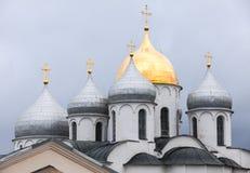 Θόλοι καθεδρικών ναών Αγίου Sophia, Novgorod Στοκ Φωτογραφίες