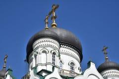 Θόλοι Annunciation του καθεδρικού ναού στη λεωφόρο επαναστάσεων σε Voronezh, Ρωσία στοκ φωτογραφία με δικαίωμα ελεύθερης χρήσης
